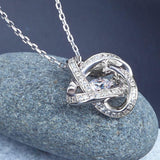 Dancing Stone Geometric Shape Pendant Necklace 925 Sterling Silver