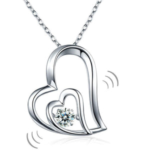 Dancing Stone Double Heart Pendant Necklace 925 Sterling Silver Good for Bridal Bridesmaid Gift