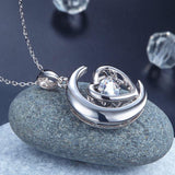 Dancing Stone Moon Heart Pendant Necklace 925 Sterling Silver Good for Bridal Bridesmaid Gift