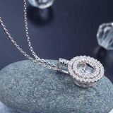 Dancing Stone Halo Pendant Necklace Solid 925 Sterling Silver