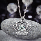 Crown Pendant Necklace Solid 925 Sterling Silver Jewelry Created Diamond