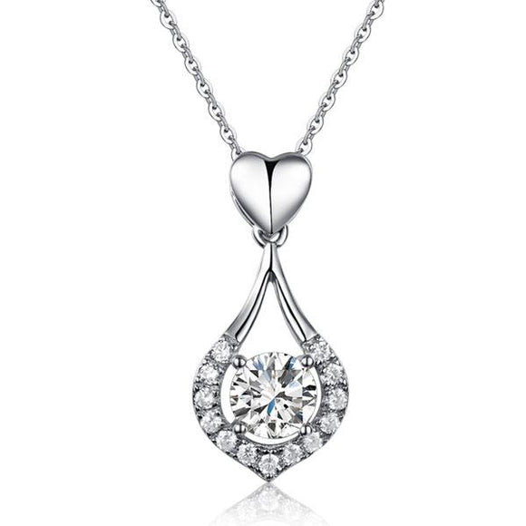 Heart Tear Drop Pendant Necklace 925 Sterling Silver Jewelry Created Diamond