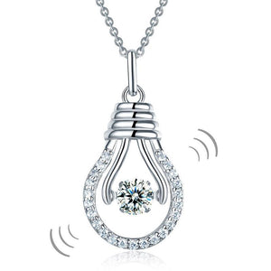 Dancing Stone Bulb Pendant Necklace 925 Sterling Silver