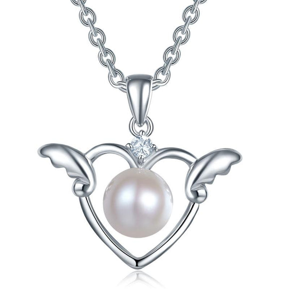 Children's 925 Sterling Silver Angel Heart Pendant Necklace