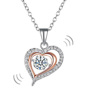 Double Heart Dancing Stone Pendant Necklace 925 Sterling Silver