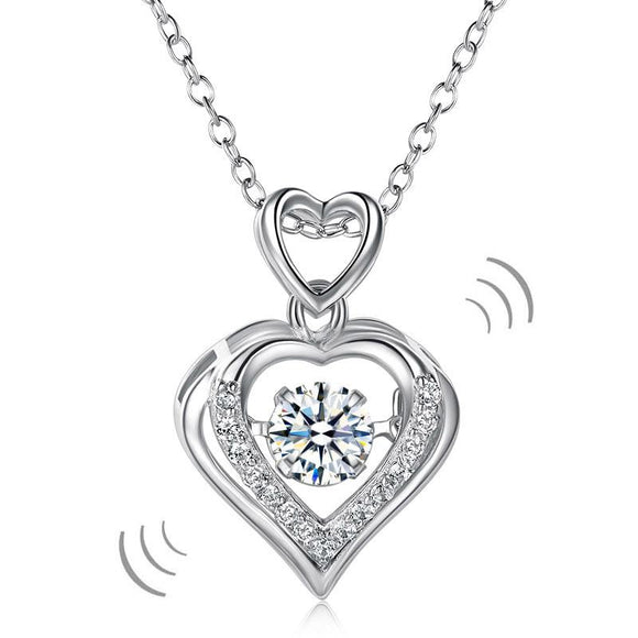 Double Heart Dancing Stone Pendant Necklace 925 Sterling Silver Good for Wedding Bridesmaid Gift