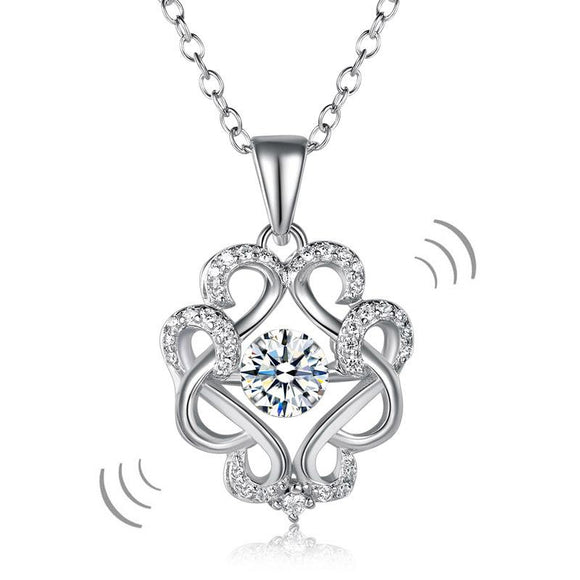 Vintage Style Dancing Stone Pendant Necklace 925 Sterling Silver