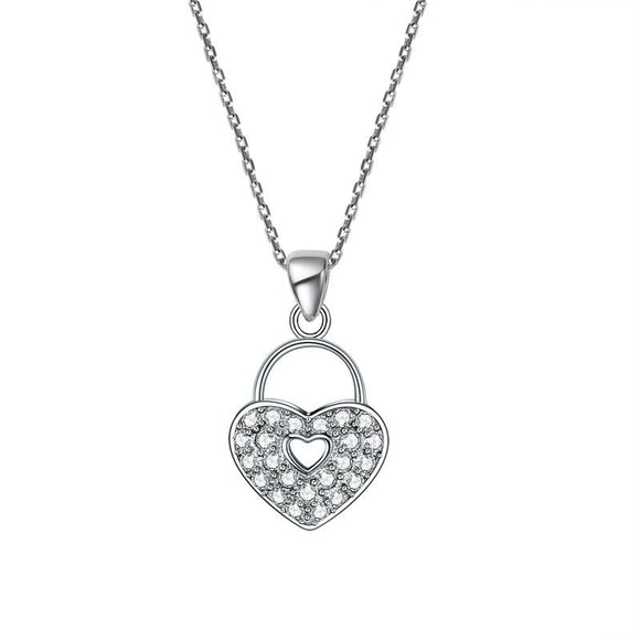 Love Heart Lock 925 Sterling Silver Pendant Necklace Lady Jewelry