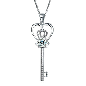 Love Heart Crown Key 925 Sterling Silver Pendant Necklace Created Diamond Jewelry 1.25 Carat
