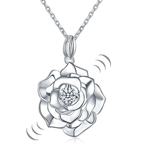 Rose Dancing Stone Pendant Necklace 925 Sterling Silver Good for Wedding Bridesmaid Gift