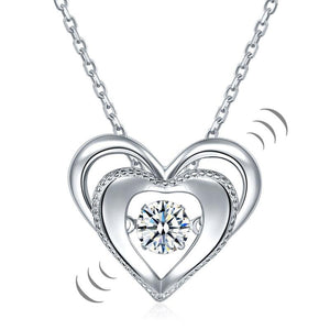 Heart Dancing Stone Pendant Necklace 925 Sterling Silver Good for Wedding Bridesmaid Gift