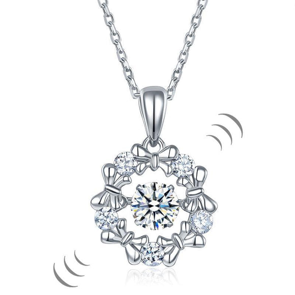 Dancing Stone Pendant Necklace 925 Sterling Silver Ribbon Flower