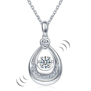 Dancing Stone Water Drop Pendant Necklace 925 Sterling Silver Birthday Gift