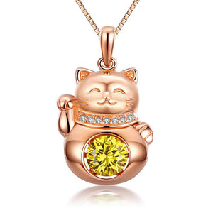 Lucky Cat Dancing Stone Pendant Necklace 925 Sterling Silver Rose Gold Plated