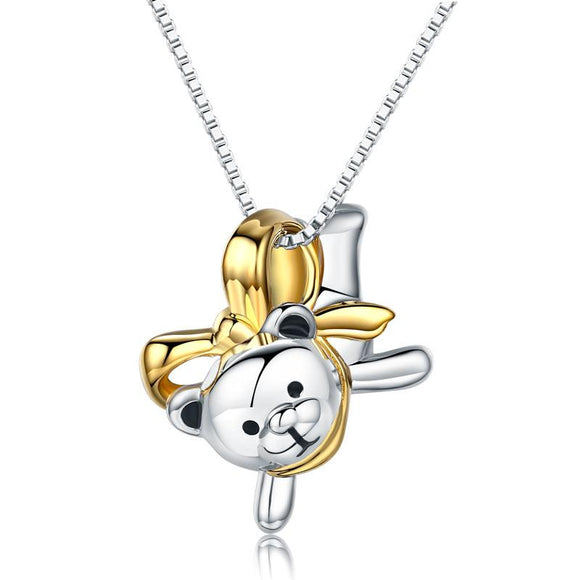 Lovely Bear Pendant Necklace 925 Sterling Silver Birthday Good Handcraft Gift
