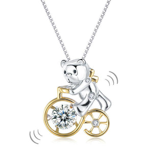 Bear Ride Bicycle Dancing Stone Pendant Necklace 925 Sterling Silver
