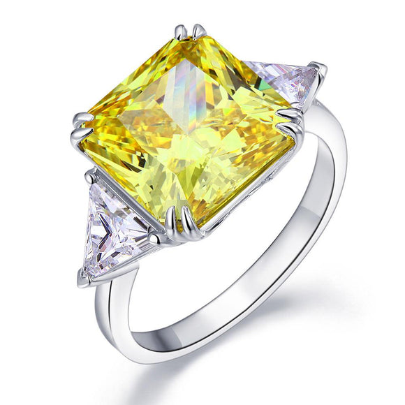 Solid 925 Sterling Silver Three-Stone Luxury Ring 8 Carat Yellow Canary Created Diamond