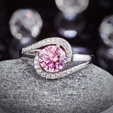 Twist Curl 925 Sterling Silver Wedding Engagement Ring 1.25 Ct Fancy Pink Created Diamond