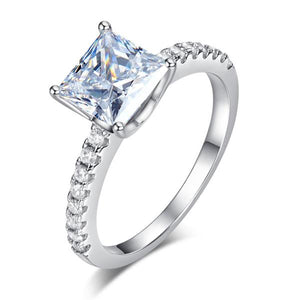 1.5 Ct Princess Cut Created Diamond 925 Sterling Silver Wedding Ring Engagement Promise Anniversary