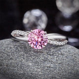 925 Sterling Silver Wedding Promise Anniversary Ring 1.25 Ct Fancy Pink Created Diamond