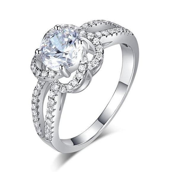 Floral 925 Sterling Silver Wedding Promise Engagement Ring 1 Ct Created Diamond Jewelry