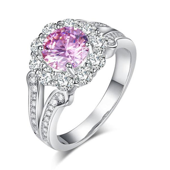 Art Deco Vintage style 925 Sterling Silver Wedding Ring 1.25 Ct Fancy Pink Created Diamond Promise Anniversary