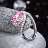 Twist Curl 925 Sterling Silver Wedding Engagement Ring 2 Ct Fancy Pink Created Diamond