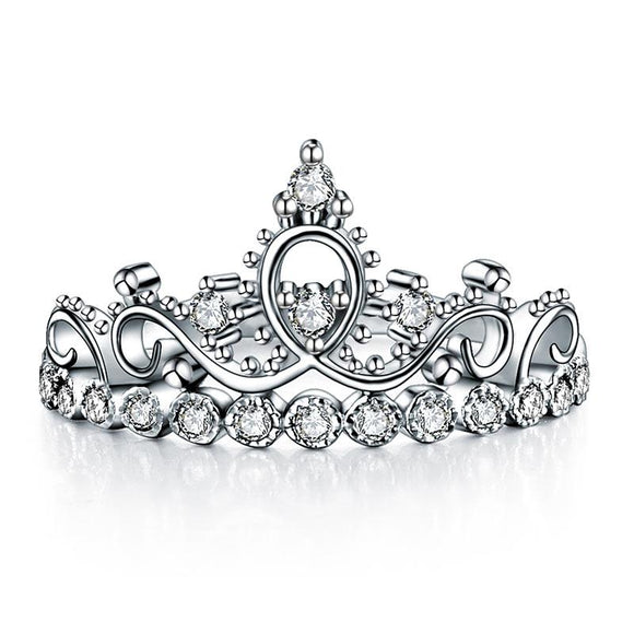 Solid 925 Sterling Silver Ring Crown Shape CZ for Lady Trendy Stylish