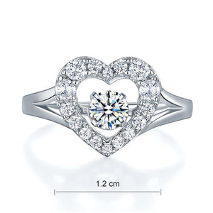 Dancing Stone Heart Solid 925 Sterling Silver Ring Fashion Wedding Jewelry