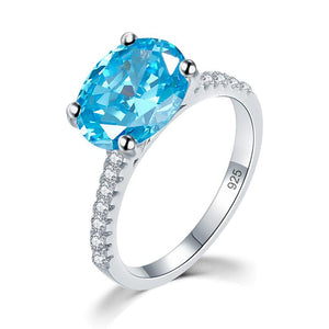 Solid 925 Sterling Silver 4 Carat Anniversary Ring Blue Oval Party Luxury Jewelry