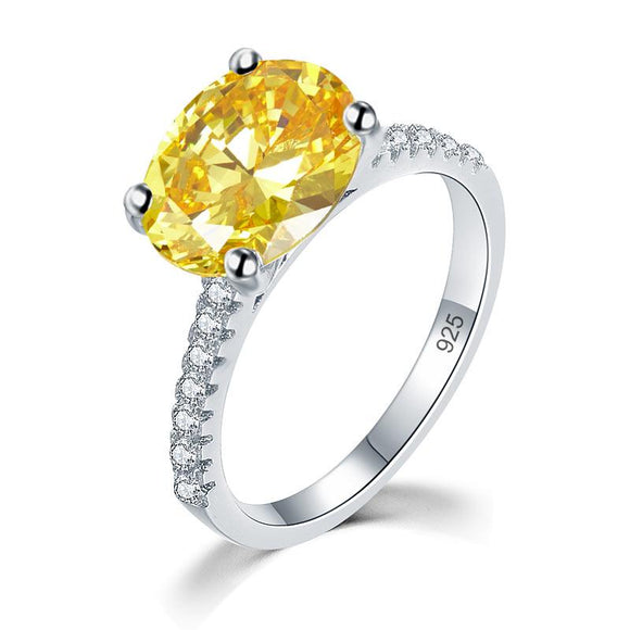 Solid 925 Sterling Silver 4 Carat Anniversary Luxury Ring Yellow Canary Oval Party Jewelry