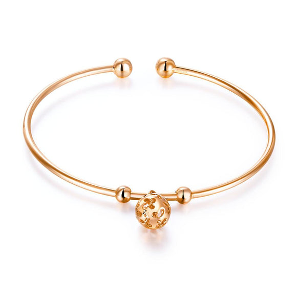Solid 18K/750 Rose Gold Flower Ball Bangle