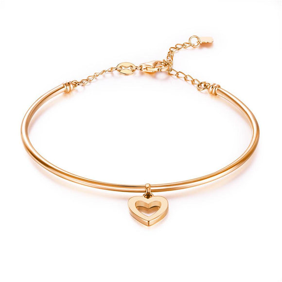 Solid 18K/750 Rose Gold Hollow Heart Bangle