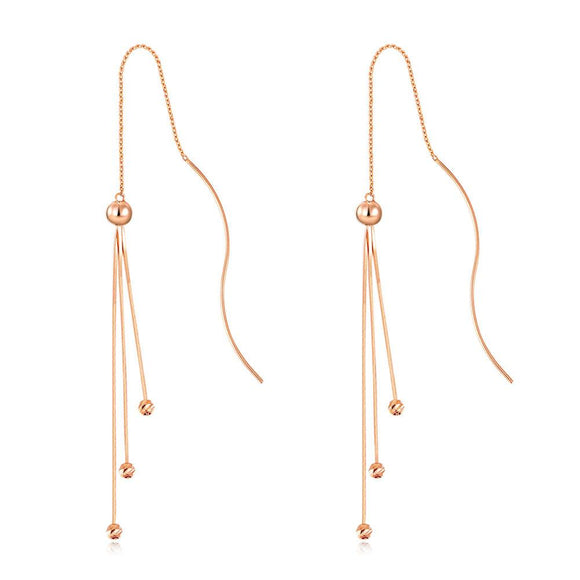 Solid 18K/750 Rose Gold Long Line Dangle Stylish Earrings