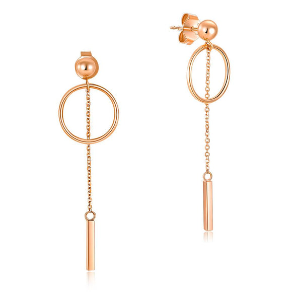 Solid 18K/750 Rose Gold Long Line Circle Dangle Earrings