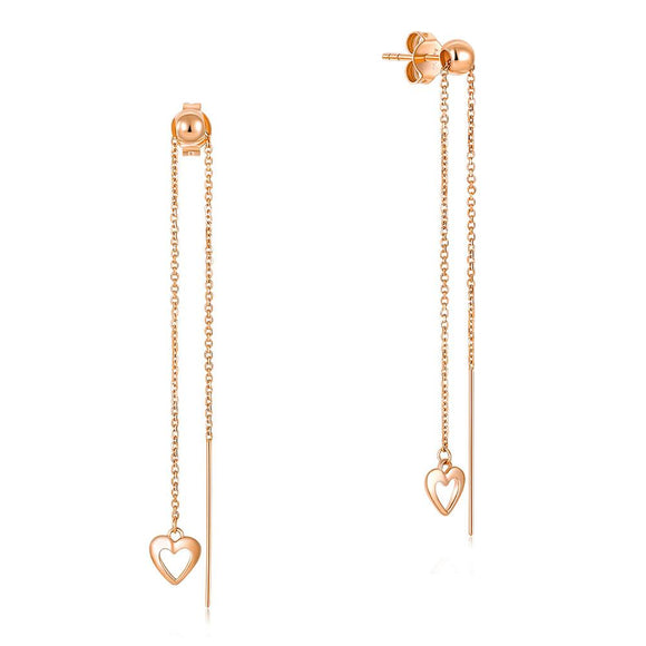Solid 18K/750 Rose Gold Long Line Heart Dangle 2-way of Wearing Earrings