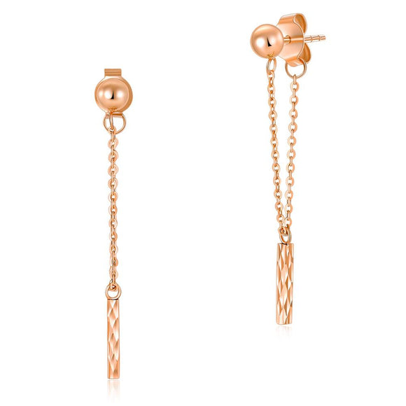 Solid18K/750 Rose Gold Long Line Dangle Earrings