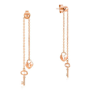 Solid 18K/750 Rose Gold Long Line Key Lock Dangle Earrings