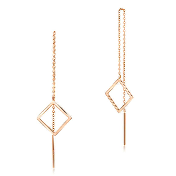 Solid 18K/750 Rose Gold Long Line Square Dangle Earrings