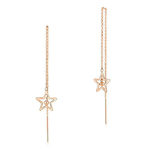 Solid 18K/750 Rose Gold Long Line Star Dangle Earrings