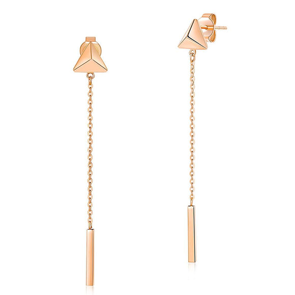 Solid 18K/750 Rose Gold Long Line Dangle Earrings - Fine Gold Jewelry Dropshiper