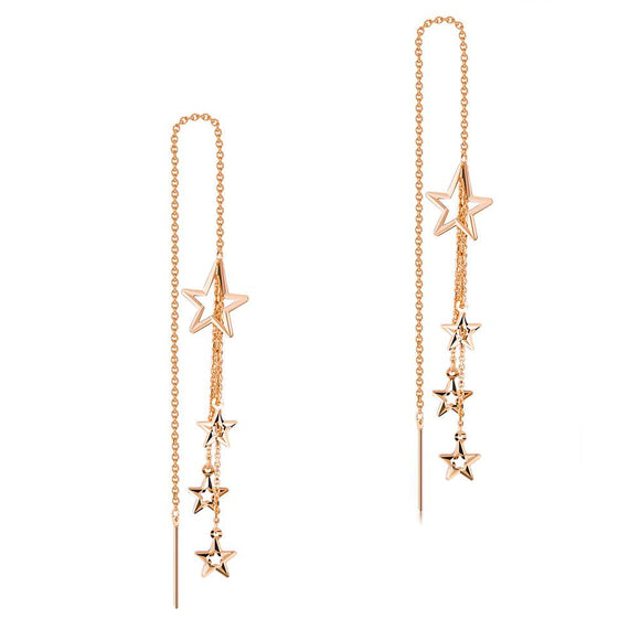 Solid 18K/750 Rose Gold Dangle Stars Long Line Earrings