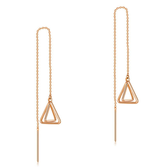 Solid 18K/750 Rose Gold Dangle Triangle Long Line Stylish Earrings
