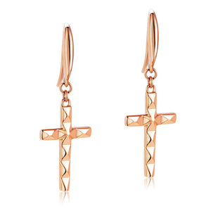 Solid 18K/750 Rose Gold Dangle Cross Earrings