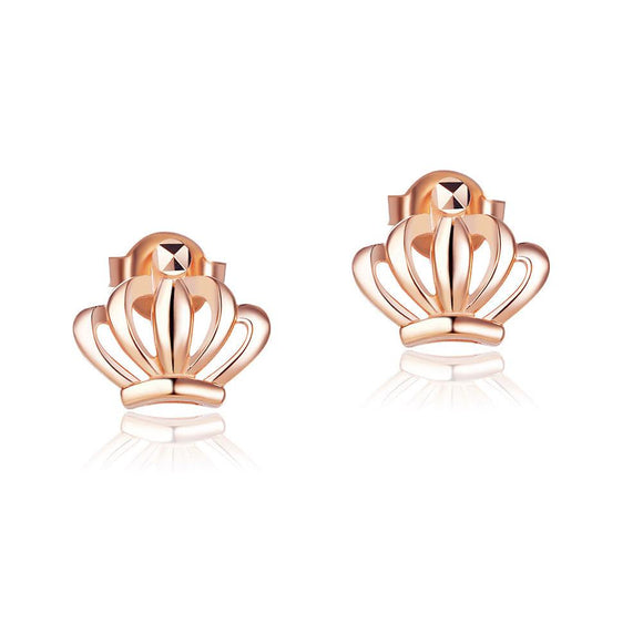 Solid 18K/750 Rose Gold Crown Stud Earrings