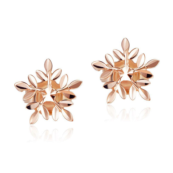 Solid 18K/750 Rose Gold Snowflake Stud Earrings