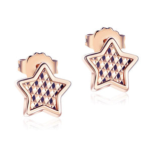 Solid 18K/750 Rose Gold Star Stud Earrings