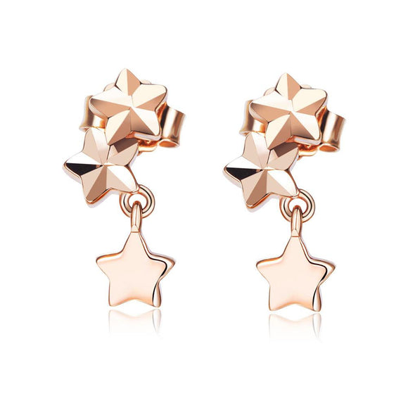 Solid 18K/750 Rose Gold Dangle Star Stylish Earrings