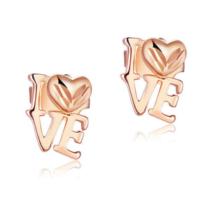 "Solid 18K/750 Rose Gold ""Love"" Stud  Earrings"