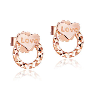 "Solid 18K/750 Rose Gold ""Love"" Heart Stud  Earrings"